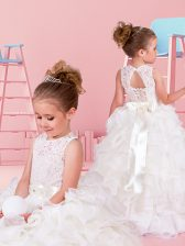 Scoop Lace and Ruffles and Belt Flower Girl Dresses for Less White Lace Up Sleeveless Floor Length