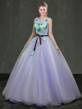 Scoop Lavender Sleeveless Organza Lace Up Quince Ball Gowns for Military Ball and Sweet 16 and Quinceanera