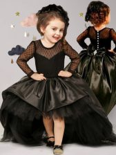 Clasp Handle Scoop Long Sleeves Toddler Flower Girl Dress With Brush Train Bowknot Black Taffeta and Tulle