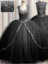Elegant Zipple Up Sweetheart Cap Sleeves Tulle 15 Quinceanera Dress Beading and Appliques Brush Train Zipper