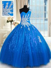 Fantastic One Shoulder Blue Ball Gowns Appliques Quinceanera Gown Lace Up Tulle and Sequined Sleeveless Floor Length