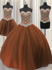 Glittering Three Piece Tulle Sleeveless Floor Length Sweet 16 Dress and Beading and Sequins