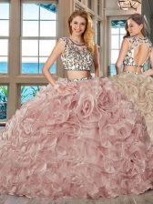 Customized Scoop Backless With Train Pink Quinceanera Dress Organza Brush Train Cap Sleeves Beading and Ruffles