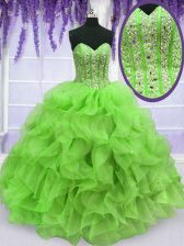 Sweetheart Neckline Ruffles and Sequins Quinceanera Dresses Sleeveless Lace Up