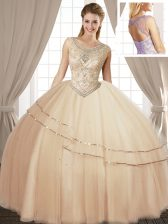 Scoop Champagne Lace Up Quinceanera Gowns Beading Sleeveless Floor Length