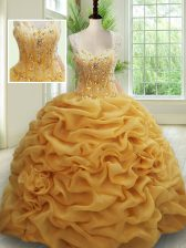 Elegant Straps Gold Sleeveless With Train Beading and Pick Ups Zipper Quinceanera Dress