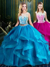 Modest Scoop Sleeveless Vestidos de Quinceanera With Brush Train Lace and Ruffles Baby Blue Tulle