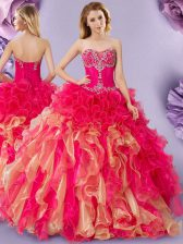 Luxurious Sleeveless Organza Floor Length Lace Up Quince Ball Gowns in Multi-color with Beading and Ruffles