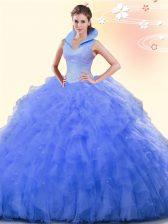 Ball Gowns Sweet 16 Quinceanera Dress Blue High-neck Tulle Sleeveless Floor Length Backless