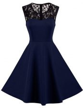 Designer Scoop Sleeveless Knee Length Lace Zipper Dress for Prom with Navy Blue