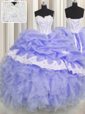 Custom Designed Lavender Ball Gowns Organza Sweetheart Sleeveless Beading and Appliques and Ruffles and Pick Ups Floor Length Lace Up Vestidos de Quinceanera
