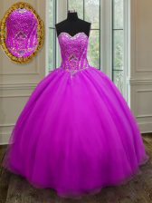 Trendy Purple Ball Gowns Organza Sweetheart Sleeveless Beading Floor Length Lace Up Sweet 16 Dresses