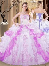 Artistic Multi-color Sleeveless Embroidery and Ruffled Layers Floor Length 15 Quinceanera Dress