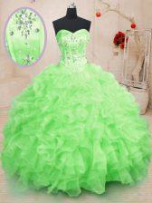 Sweetheart Sleeveless 15th Birthday Dress Floor Length Beading and Ruffles Organza