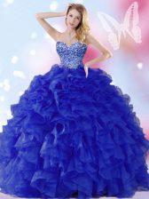 Charming Royal Blue Lace Up Sweetheart Beading and Ruffles Sweet 16 Dress Organza Sleeveless