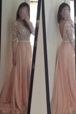 Scoop Peach Backless Beading and Ruching 3 4 Length Sleeve With Brush Train