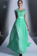 Admirable Turquoise Prom Party Dress Prom and Party with Beading Scoop Cap Sleeves Side Zipper