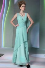 Clearance Turquoise Empire Chiffon Square Sleeveless Sequins and Ruching Floor Length Side Zipper Prom Party Dress