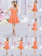 Fantastic Straps Sleeveless Zipper Damas Dress Orange Chiffon