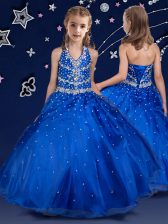 Discount Royal Blue Little Girls Pageant Dress Wholesale Quinceanera and Wedding Party with Beading Halter Top Sleeveless Lace Up