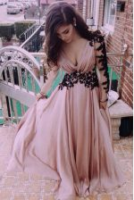Long Sleeves Chiffon Floor Length Zipper Evening Dress in Pink with Ruching