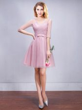 Ideal Half Sleeves Mini Length Ruching and Bowknot Lace Up Quinceanera Court Dresses with Pink