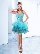 Glamorous Aqua Blue Sweetheart Lace Up Ruffles Prom Party Dress Sleeveless