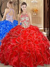 Coral Red Ball Gowns Organza Scoop Sleeveless Embroidery and Ruffles Floor Length Backless Quinceanera Dresses