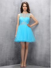 Trendy Scoop Sleeveless Zipper Prom Party Dress Blue Tulle