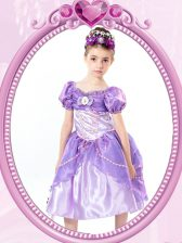 Luxury Lavender Short Sleeves Tea Length Beading and Bowknot Clasp Handle Flower Girl Dresses