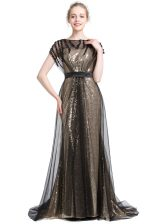 Excellent Black Short Sleeves With Train Beading Zipper Prom Gown