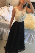 White And Black Column/Sheath Lace Scoop Sleeveless Beading and Lace Floor Length Side Zipper Prom Dress