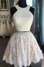Halter Top Lace Knee Length A-line Sleeveless White Evening Dress Zipper