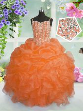 New Style Spaghetti Straps Sleeveless Organza Pageant Gowns For Girls Beading and Ruffles and Pick Ups Lace Up