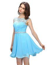 Spectacular Scoop Baby Blue Column/Sheath Beading Evening Dress Zipper Chiffon Sleeveless Mini Length