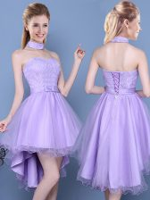 Lavender Sweetheart Neckline Lace and Bowknot Court Dresses for Sweet 16 Sleeveless Lace Up