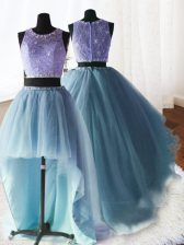 Three Piece Scoop Organza and Tulle and Lace Sleeveless With Train 15 Quinceanera Dress Brush Train and Beading and Lace and Ruffles