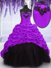 Purple Ball Gowns Taffeta Sweetheart Sleeveless Appliques and Pick Ups With Train Lace Up Vestidos de Quinceanera Sweep Train