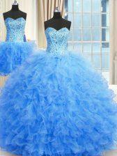Three Piece Sleeveless Beading and Ruffles Lace Up 15th Birthday Dress