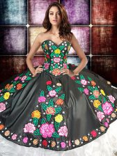 Exquisite Floor Length Lace Up Vestidos de Quinceanera White And Black for Military Ball and Sweet 16 and Quinceanera with Embroidery and Ruffles