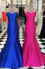 Ideal Royal Blue Mermaid Ruching Prom Gown Zipper Satin Sleeveless Floor Length