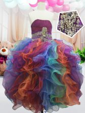 Sleeveless Floor Length Beading and Ruffles Zipper Little Girls Pageant Dress with Multi-color