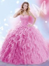 Rose Pink Ball Gowns Beading and Ruffles 15th Birthday Dress Lace Up Tulle Sleeveless