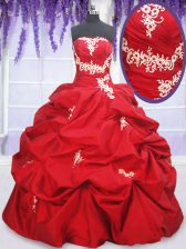 Exquisite Floor Length Lace Up Quinceanera Gowns Red for Military Ball and Sweet 16 and Quinceanera with Appliques and Pick Ups