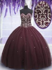Brown Sleeveless Floor Length Beading and Appliques Lace Up Quinceanera Gowns