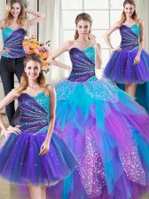 Four Piece Multi-color Quinceanera Dresses Military Ball and Sweet 16 and Quinceanera with Beading and Ruffles Sweetheart Sleeveless Lace Up
