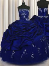 Taffeta Strapless Sleeveless Lace Up Beading and Embroidery and Pick Ups Quinceanera Gown in Royal Blue