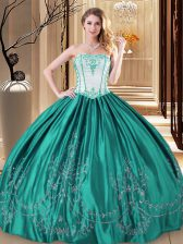 Classical Turquoise Ball Gowns Taffeta Strapless Sleeveless Embroidery Floor Length Lace Up Sweet 16 Dresses