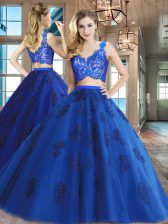 Two Pieces Ball Gown Prom Dress Royal Blue V-neck Tulle Sleeveless Floor Length Zipper
