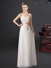 Sweetheart Sleeveless Lace Up Quinceanera Dama Dress White Chiffon
